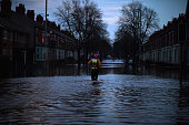 Rescue teams continue to to search as dusk fallsfor people who wantevacuated from their homes after Storm Desmond caused flooding on December 7 2015...