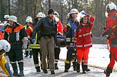 TOPSHOT Rescue teams work at the site of a train accident near Bad Aibling southern Germany on February 9 2016 Two Meridian commuter trains operated...