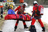 Rescue teams work at the site of a train accident near Bad Aibling southern Germany on February 9 2016 Two Meridian commuter trains operated by...