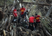 Rescue workers carry dead bodies victims of flash floods at the height Typhoon Bopha and retrieved from amongst the debris of logs in New Bataan...