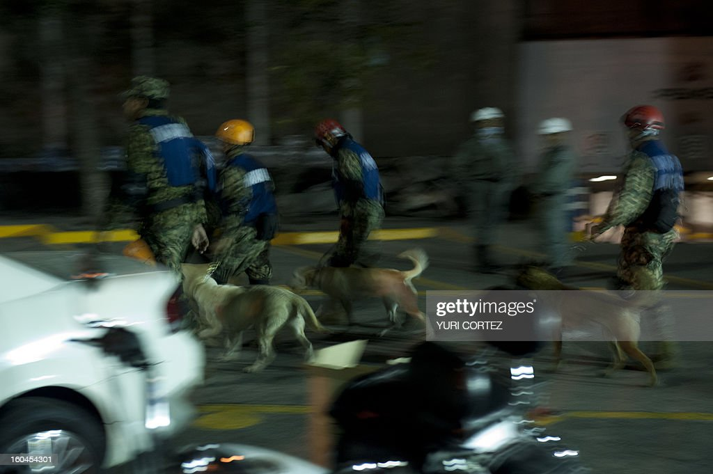 Rescue workers from the Mexican navy with dogs search for victims at the headquarters of state-owned Mexican oil giant Pemex in Mexico City on January 31, 2013, following a blast inside the building. An explosion rocked the skyscraper, leaving up to 25 dead and 101 injured, as a plume of black smoke billowed from the 54-floor tower, according to official sources.