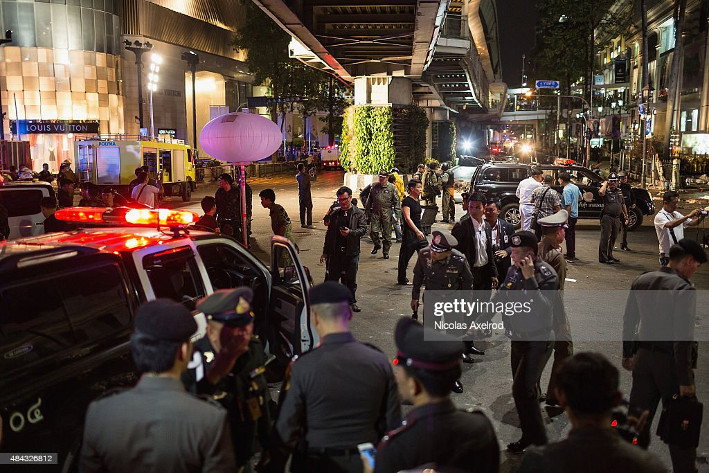 A rescue workers near the scene of an explosion on August 17 2015 in Bangkok Thailand A large explosion believed to be from a bomb has happened in...