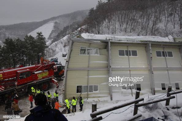 Rescue workers search for survivors from a collapsed resort gymnasium on February 18 2014 in Gyeongju South Korea A resort building in the southern...
