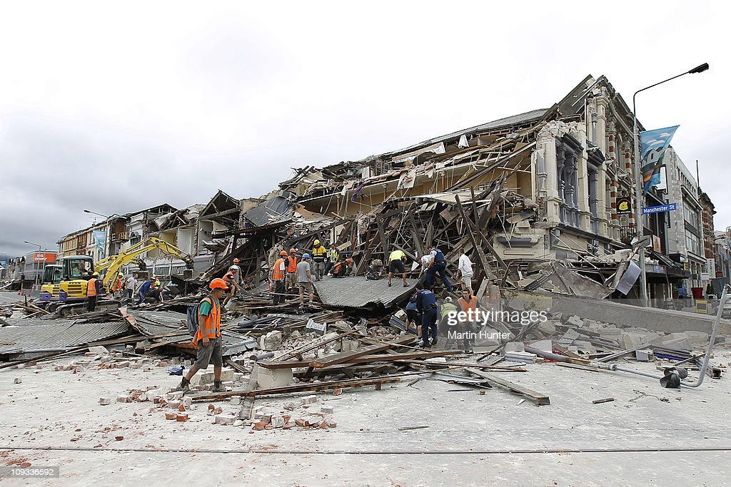 Rescue workers search for survivors through the debris on February 22 2011 in Christchurch New Zealand The 63 magnitude earthquake an aftershock of...