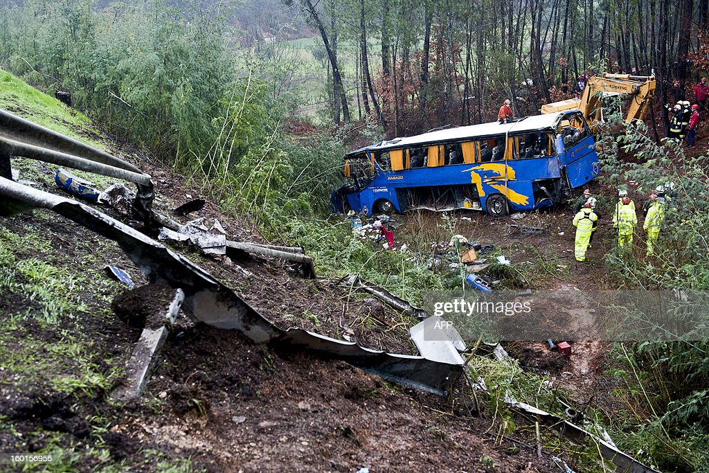 Rescue workers stand near a bus which crashed at the IC8 road near Carvalhal, in the central Castelo Branco district, on January 27, 2013. Ten people were killed and 33 were hurt when a coach slid off a rain-soaked road and plunged into a ravine in central Portugal today, rescue services said. More than 250 firefighters, 88 emergency vehicles and a helicopter were deployed to the scene. The accident occurred around 0845 GMT