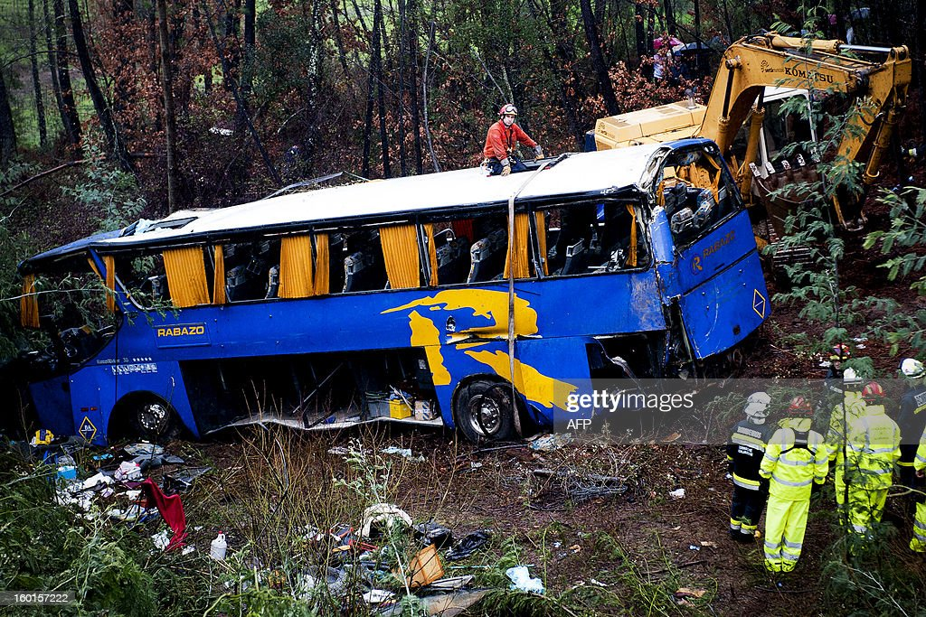 Rescue workers stand next to a bus which crashed on the IC8 road near Carvalhal, in the central Castelo Branco district, on January 27, 2013. Ten people were killed and 33 were hurt when a coach slid off a rain-soaked road and plunged into a ravine in central Portugal today, rescue services said. More than 250 firefighters, 88 emergency vehicles and a helicopter were deployed to the scene. AFP PHOTO/ RICARDO GRACA