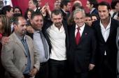 Rescued miner Mario Sepulveda Luis Ursua Spanish actor Antonio Banderas Chilean President Sebastian Pinera and Brazilian actor Rodrigo Santoro pose...