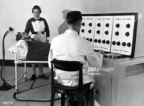 1949 Great Britain Secret brain tests being performed on patients using a Electroencephalograph machine