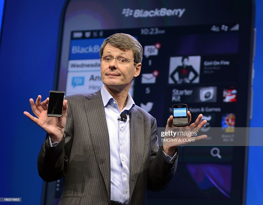 Research in Motion CEO Thorsten Heins as officially unveils the BlackBerry 10 mobile platform as well as two new devices January 30, 2013 at the New York City Launch at Pier 36. BlackBerry launched its comeback effort Wednesday with a revamped platform and a pair of sleek new handsets, along with a company name change as part of a move to reinvent the smartphone maker. Canadian-based Research in Motion said it had changed its name to BlackBerry as it launched the BlackBerry 10, the new platform aimed at helping the firm regain traction in a market now dominated by rivals.
