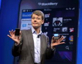 Research in Motion CEO Thorsten Heins as officially unveils the BlackBerry 10 mobile platform as well as two new devices January 30 2013 at the New...