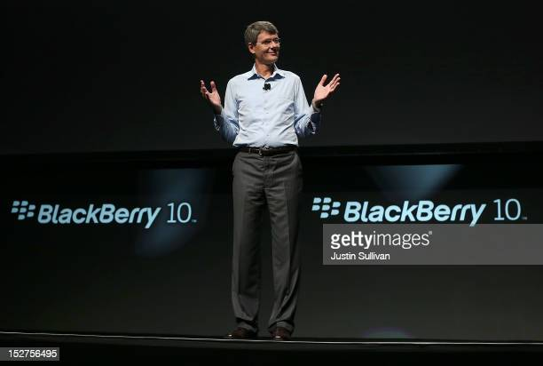 Research in Motion CEO Thorsten Heins speaks during the BlackBerry Jam 2012 conference at the San Jose Convention Center on September 25 2012 in San...