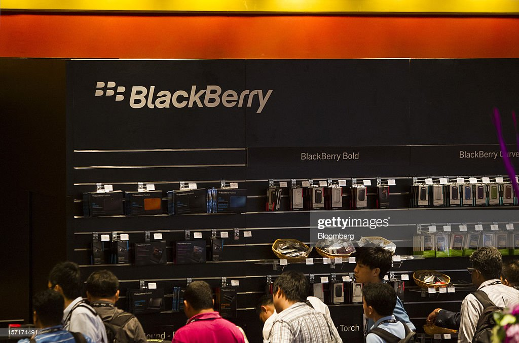 Research In Motion Ltd. (RIM) accessories for its BlackBerry smartphones are displayed for sale at the BlackBerry Jam Asia developer conference in Bangkok, Thailand, on Thursday, Nov. 29, 2012. RIM gained after Goldman Sachs Group Inc. upgraded the stock to buy, saying the new BlackBerry 10 phones could help it return to profitability in fiscal 2014. Photographer: Brent Lewin/Bloomberg via Getty Images