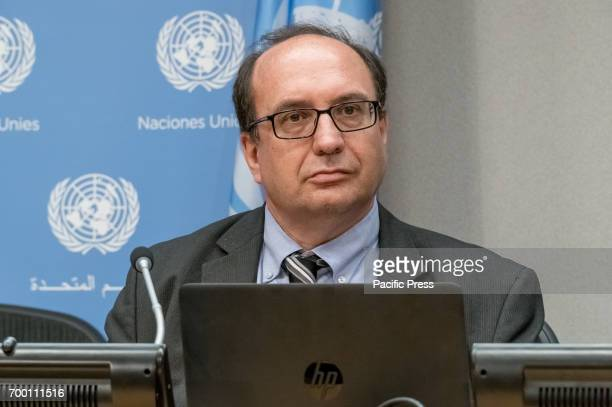 Research Officer Dr Thomas Pietschmann is seen at the press briefing On the occasion of the launch of the 2017 World Drug Report United Nations...