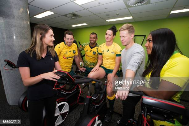 UTS research student Jo Hausler speaks to Rugby Australia athletes Bernard Foley Kurtley Beale Mollie Gray and Mahalia Murphy during the opening of...