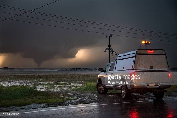Research vehicle in front of Tornado