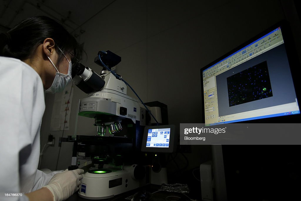 A researcher conducts cellular analyses with a microscope in a laboratory at Yokohama City University's (YCU) Advanced Medical Research Center (AMRC) in Yokohama City, Kanagawa Prefecture, Japan, on Monday, March 18, 2013. Japan aims to be a nation with the most advanced medical technologies and healthcare services in the world and to develop the medical industries for the revitalization of the country's economy. Photographer: Kiyoshi Ota/Bloomberg via Getty Images