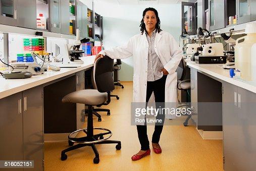 Researcher in hematology lab, portrait