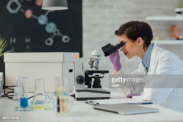 Researcher Using Microscope In Her Lab.
