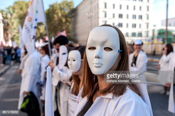 Researchers employed as precarious workers hold a demonstration in front of the Italian Ministry of Education University and Research on October 4...