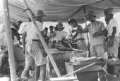 Researchers investigate the radiation level of the fishes caught near Bikini Atoll on the deck of the research ship Shunkotsu Maru in June 1954 at...