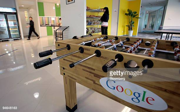 Researchers use the recreation and kitchen area of Google Inc's office in Shanghai China on Wednesday Aug 15 2007 Google Inc trailing Baiducom Inc in...