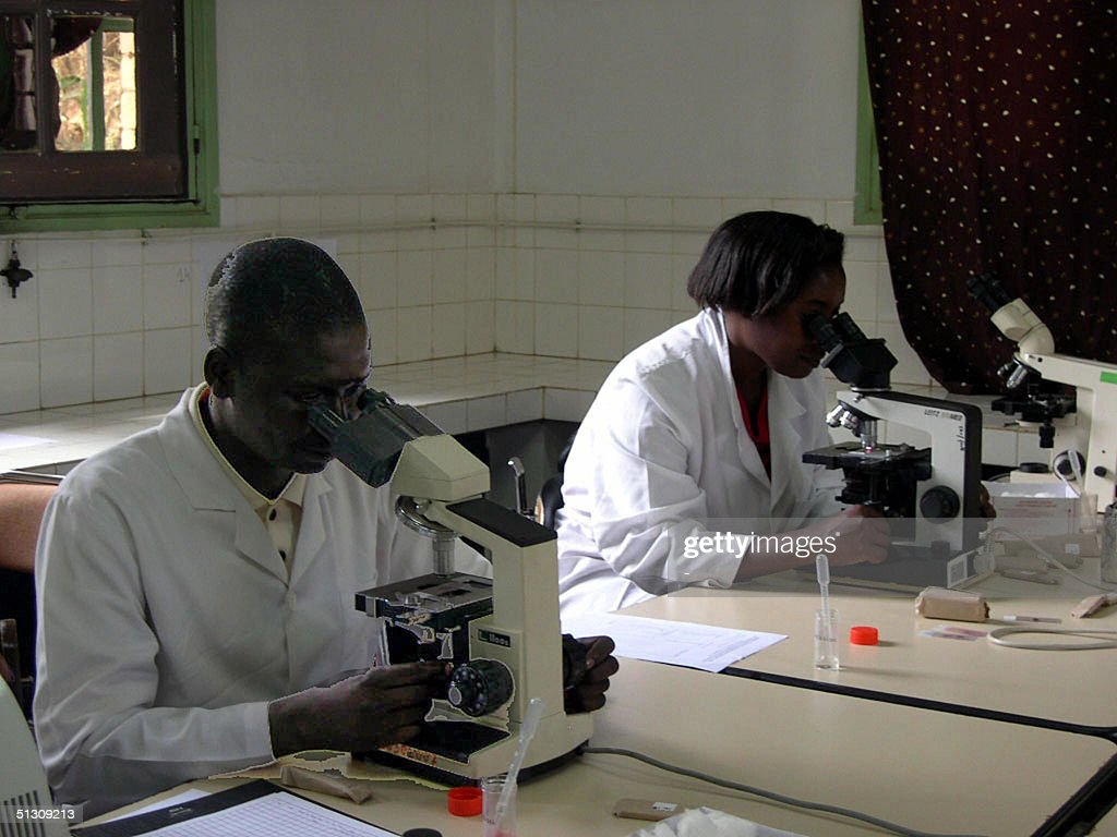 Researchers work 09 September 2004 in a laboratory in the Madagascan capital Antananarivo The Pasteur Institute of Madagascar started hosting 11...