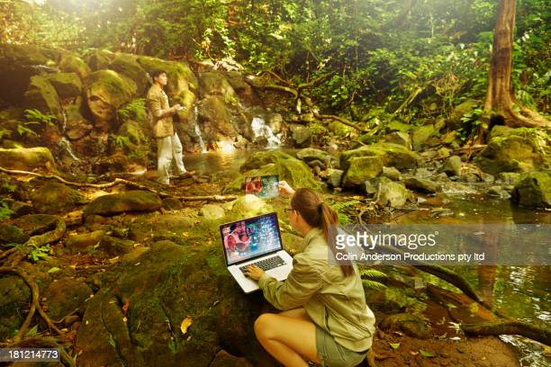 Researchers working in jungle