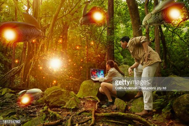 Researchers working in jungle