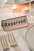 Reservation tag on dining table