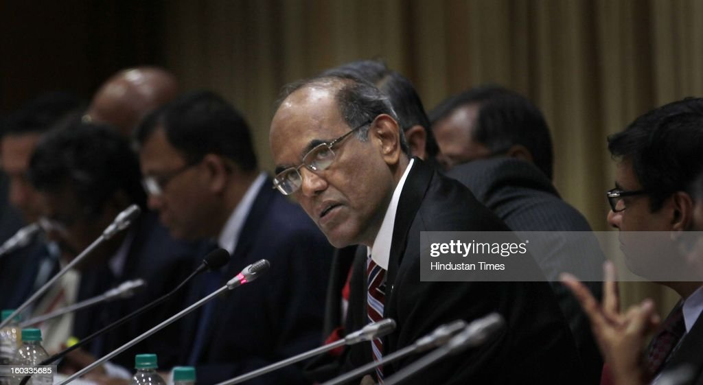 Reserve Bank of India Governor Duvvuri Subbarao at the Press Conference at the RBI headquarters on January 29, 2013 in Mumbai, India.