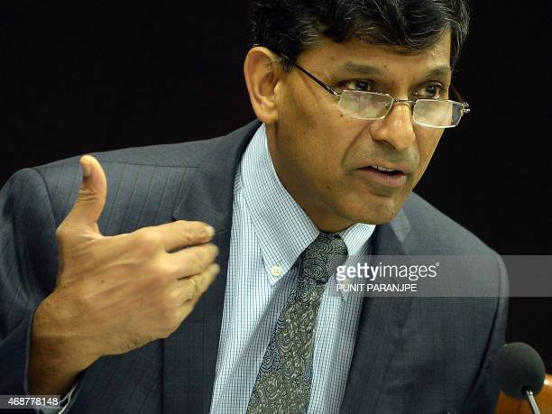 Reserve Bank of India governor Raghuram Rajan attends a news conference after the announcement of the first bimonthly monetary policy for year 201516...