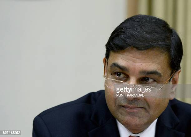 Reserve Bank of India Governor Urjit Patel attends a news conference at the head office in Mumbai on October 4 2017 India's central bank held...