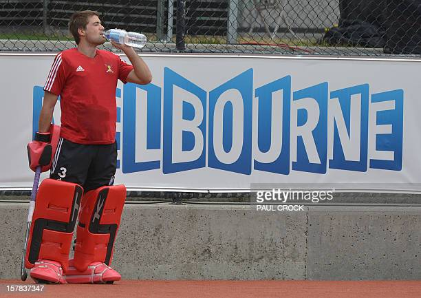Reserve goalkeeper Jeremy Gucasoff of Belgium takes a break during a practice session for the Men's Hockey Champions Trophy tournament in Melbourne...