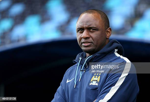 Reserve team manager of Manchester City FC Patrick Vieira looks on during the UEFA Youth League Round of 16 match between Manchester City FC and FC...