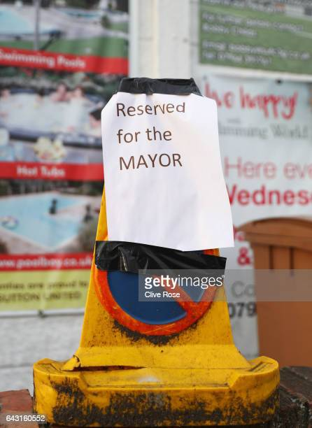 A 'reserved for the mayor' sign is seen prior to The Emirates FA Cup Fifth Round match between Sutton United and Arsenal at The Borough Sports Ground...