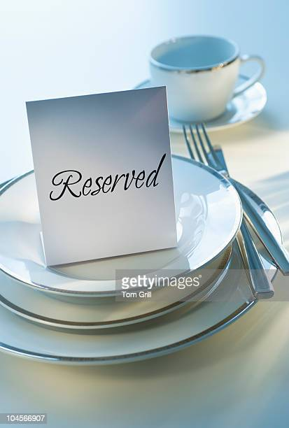 reserved sign on place setting