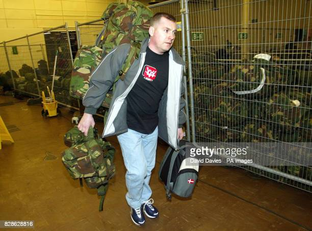 Reservist Andy Godwin a prison officer from Bister arrives at the Reserves Training and Mobilisation Centre at Chetwynd Barracks Chilwell in...