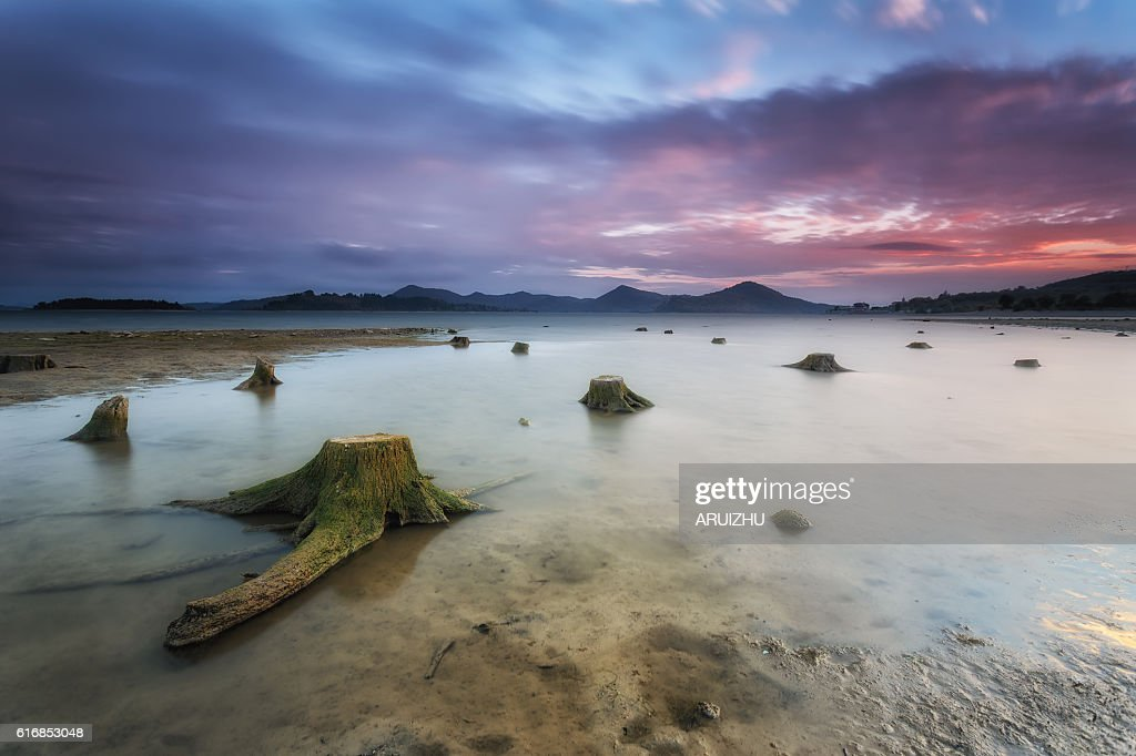Reservoir in autumn, lack of water : Stock Photo