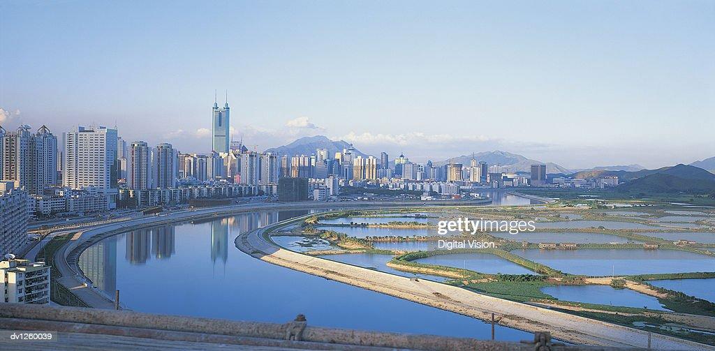 Reservoirs and Shenzhen City Skyline, Guangdong Province, China