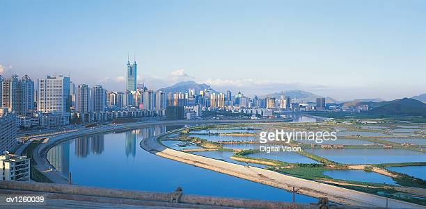 Reservoirs and Shenzhen City Skyline, Guangdong Province, China