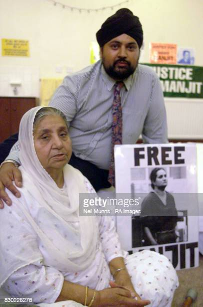 Resham Kaur mother of the Nanny Mamit Kaur Basuta held in San Diego USA on murder charges sits infront of a picture of her daughter at the Gudwara...