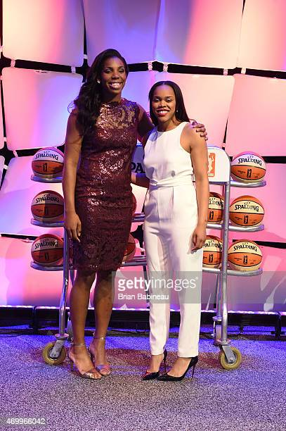 Reshanda Gray and Brittany Boyd pose for a photo during the 2015 WNBA Draft Presented By State Farm on April 16 2015 at Mohegan Sun Arena in...