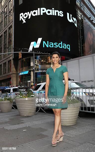 Reshma Shetty of USA Network's 'Royal Pains' rings the NASDAQ Closing Bell at NASDAQ on May 20 2016 in New York City