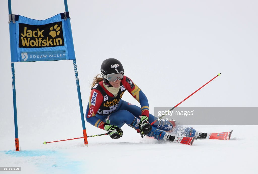 Resi Stiegler of the United States competes in the first run of the Audi FIS World Cup Ladies' Giant Slalom on March 10, 2017 in Squaw Valley, California.