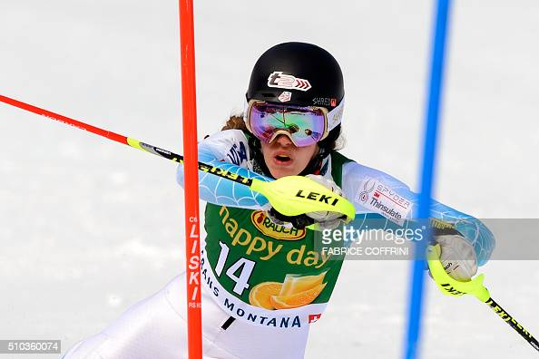Resi Stiegler of the US clears a gate during the first run of the Women's slalom on February 15 2016 at the FIS Alpine Skiing World Cup in...