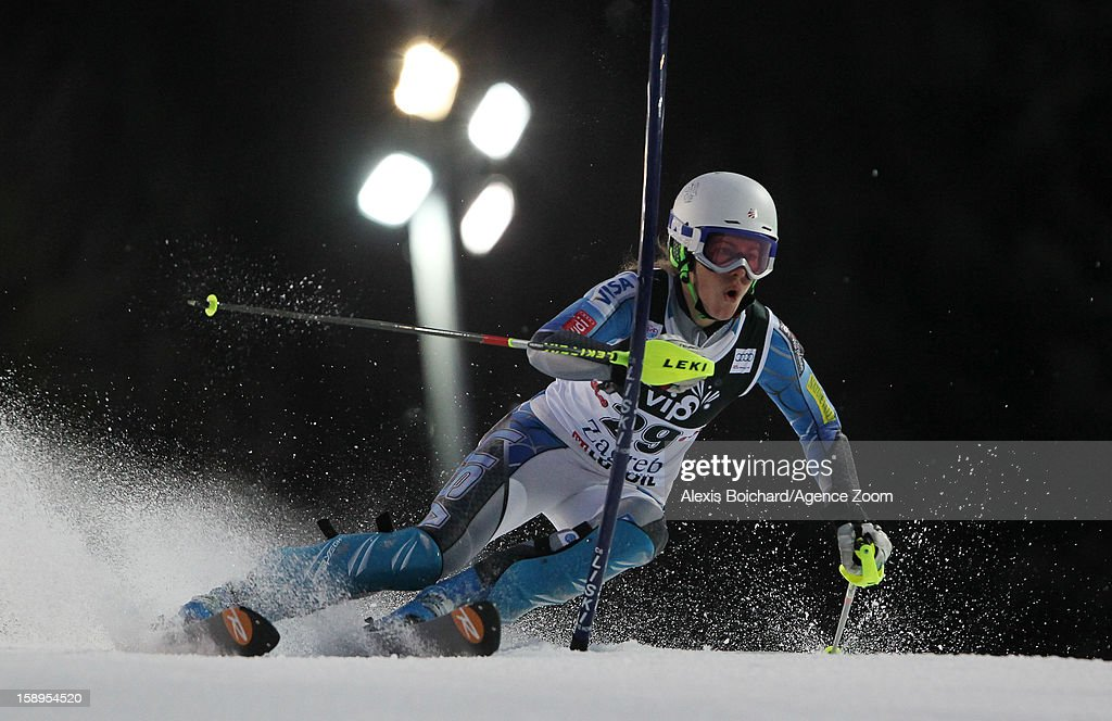 Resi Stiegler of the USA competes during the Audi FIS Alpine Ski World Cup Women's Slalom on January 4, 2013 in Zagreb, Croatia.