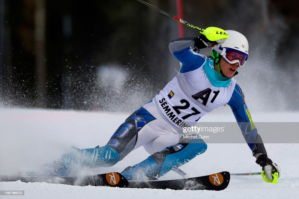 Resi Stiegler of the USA races down the course whilst competing in the Audi FIS Alpine Ski World Cup Slalom Race on December 29, 2012 in Semmering, Austria.