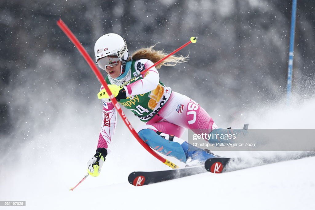 Resi Stiegler of USA in action during the Audi FIS Alpine Ski World Cup Women's Slalom on January 08, 2017 in Maribor, Slovenia