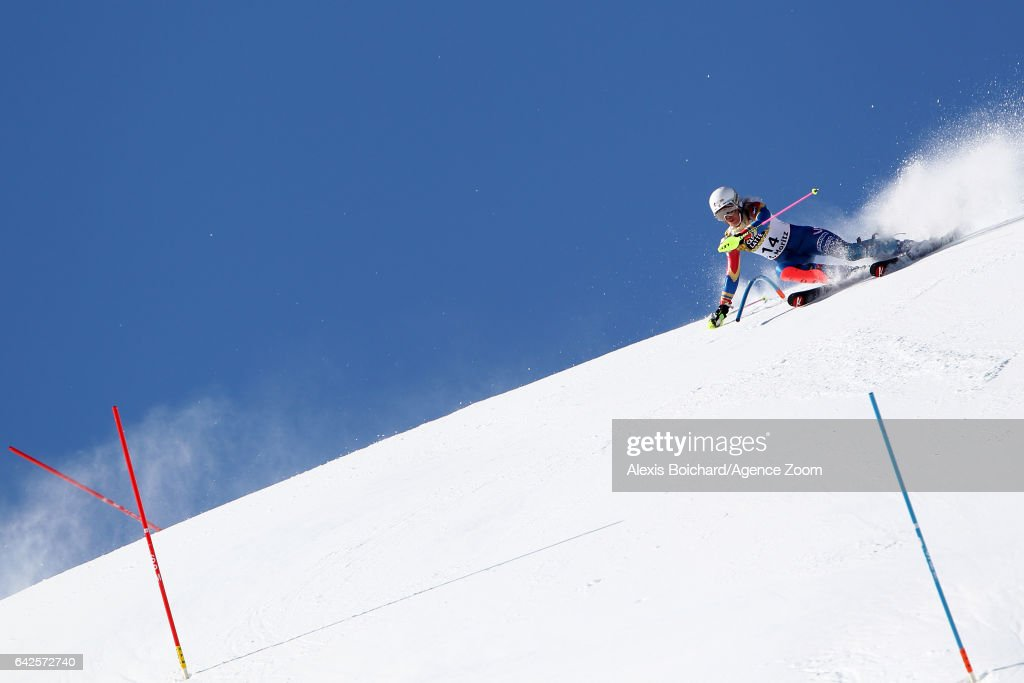 Resi Stiegler of USA in action during the FIS Alpine Ski World Championships Women's Slalom on February 18, 2017 in St. Moritz, Switzerland