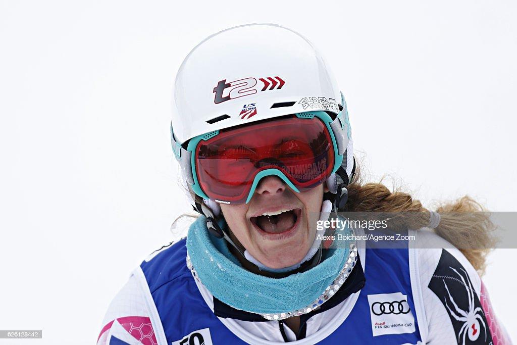 Resi Stiegler of USA reacts during the Audi FIS Alpine Ski World Cup Women's Slalom on November 27, 2016 in Killington, Vermont.